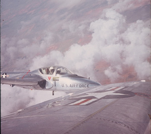 David flying a T37 with an instructor in pilot training at Webb AFB