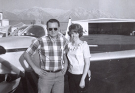 David and Loretta Jensen on the day he receives private pilot's license