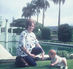 Loretta and baby daughter at LDS Temple in Hawaii