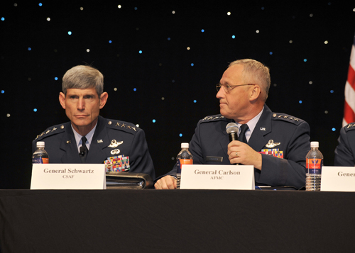 Four-Star forum at Air Force Association Convention in Sept. 2008 where field commanders and Chief of Staff respond to questions from the audience. Photo courtesy of the Air Force.