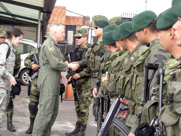 General Carlson at the airport as he departs Bogotá Columbia in 2008. This is the group of young men who escorted him everywhere during their two-day visit to Columbia.