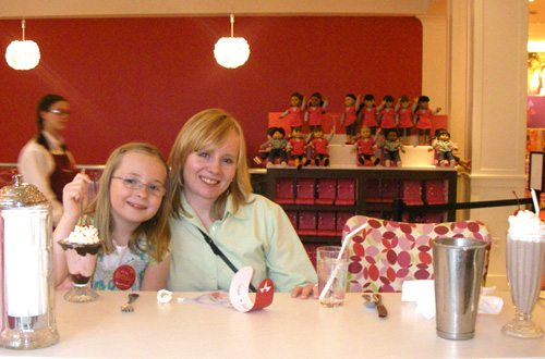 My daughter and me at the American Girl store